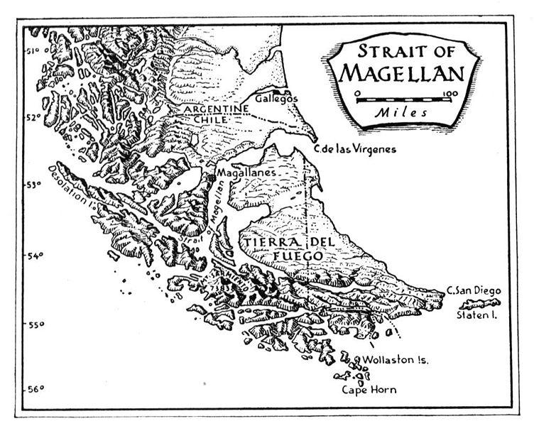 Mapa del área del estrecho de Magallanes. Retrato de 1854.