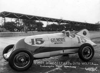 1932 Indianapolis 500 - Stubby Stubblefield and mechanic Oito Wolfer.