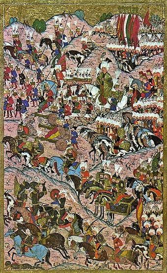 Battle of Mohacs in 1526 Suleiman I after the victory at Mohacs.jpg