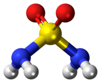 Ball-and-stick model of the sulfamide molecule