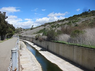 Sulphur Creek (California) - Concrete channel of Sulphur Creek upstream of Laguna Niguel Lake