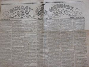 Sunday Mercury (New York) - Top half of front page of August 5, 1849 Sunday Mercury