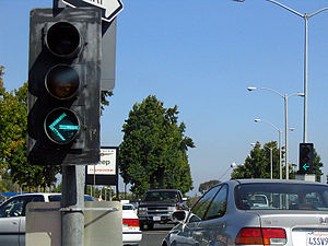 A left-turn traffic light on El Camino Real in...