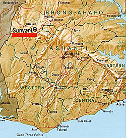 Location map of Sunyani, in Brong Ahafo, Ghana.