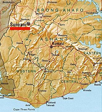 Sunyani - Image: Sunyani Map