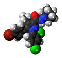 Space-filling model of the surinabant molecule