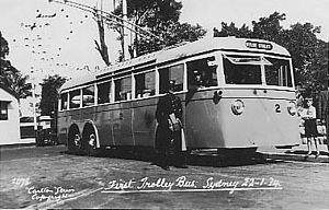 Trolleybuses in Sydney - Trolleybus no 2 in January 1934