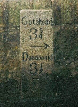 Gatehead, East Ayrshire - A milestone on the old toll road at Symington.