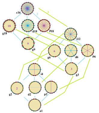Octadecagon - Symmetries of a regular octadecagon. Vertices are colored by their symmetry positions. Blue mirrors are drawn through vertices, and purple mirrors are drawn through edge. Gyration orders are given in the center.