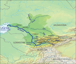 Map of the watershed of Syr Darya. Aral Sea boundaries are c. 1960.