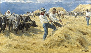 Threshing in the Abruzzi. Cività d'Antino