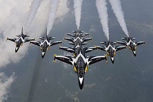 Black Eagles aerobatic team - Image: T 50B Blackeagles Demo Flight (12201493173)