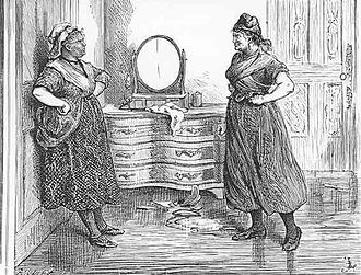 Madame Defarge - Madame Defarge (right) and Miss Pross by Fred Barnard, 1870s