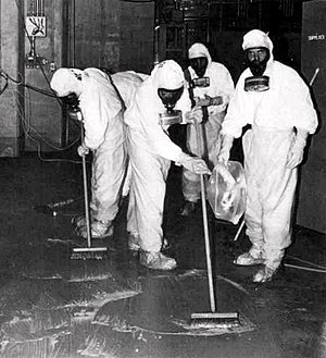 Nuclear history of the United States - A clean-up crew working to remove radioactive contamination after the Three Mile Island accident.