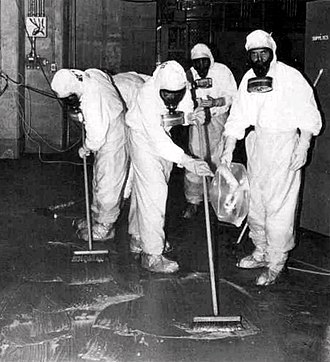 Nuclear power in the United States - A clean-up crew working to remove radioactive contamination after the Three Mile Island accident.