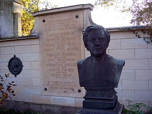 Georg Helm - Memorial Tablet to Georg Helm at the old Annenfriedhof in Dresden (Bust is of Hermann Hettner).