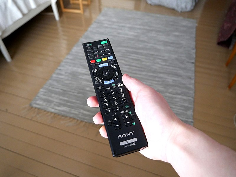 File:TV remote control in hand 20170128.jpg