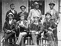 Tableau, men, hat, walking cane, yard Fortepan 8828.jpg