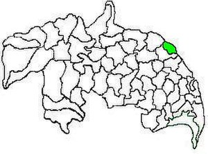 Tadepalle mandal, Guntur district - Mandal map of Guntur district showing   Tadepalle mandal (in green)