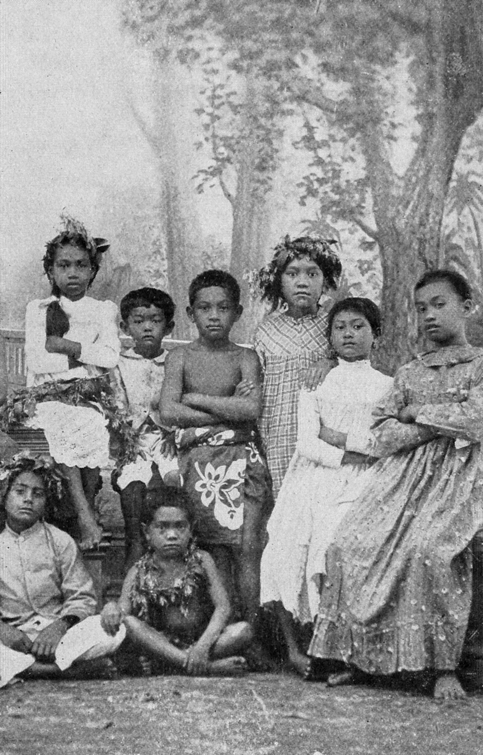 Tahitian schoolchildren, by Coulon