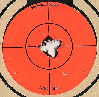 Savage 10FP - Target from Savage 10FP in .223 with five shots at 100 yards. The bullseye is 1 inch across
