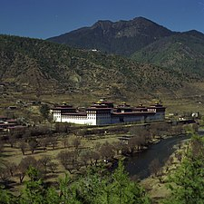 View of Tashichoedzong, Thimphu, seat of the Bhutanese government since 1952