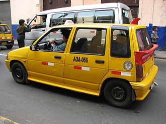 Transport in Lima - Daewoo Tico taxi in downtown Lima