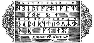 """A Description of the Northern Peoples - """"The Alphabet of the Geats"""", showing the runic alphabet used by the Geats."""