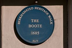The boote blue plaque