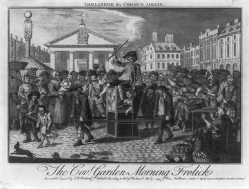 Covent Garden in 1747, on a satirical print The Covt. Garden morning frolick. Gaillardise du Commun Jardin by Louis Peter Boitard.