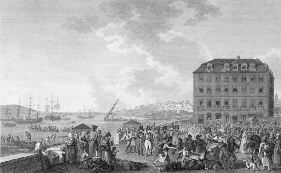 The Embarkation of Genl. Junot, after the Convention of Cintra, at Quai Sodre (Henri L' Évêque, F. Bartolozzi)