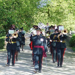 Essex Yeomanry - Director of Music Major Danny Greer leading the Band on Parade at Audley End House