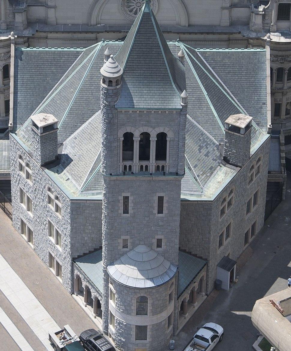The First Church of Christ, Scientist, Boston (original church 1894), aerial shot, 19 July 2011