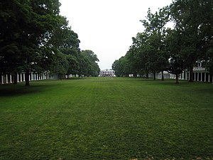 Lawn - The Lawn at the University of Virginia, facing south.