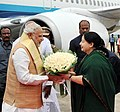 The Prime Minister, Shri Narendra Modi being received by the Chief Minister of Tamil Nadu, Ms. J. Jayalalithaa, on his arrival at Chennai, in Tamil Nadu on August 07, 2015..jpg