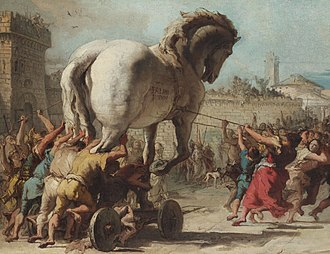Trojan Horse - Detail from The Procession of the Trojan Horse in Troy by Domenico Tiepolo (1773), inspired by Virgil's Aeneid