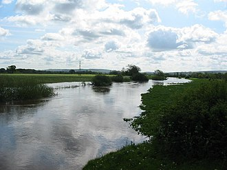 Vale of Pickering - The River Rye in flood looking from the A169 road at Howe Bridge.