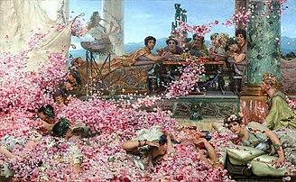 Les Roses d'Héliogabale, huile sur toile de Lawrence Alma-Tadema (1888, collection privée). (définition réelle 6000×3694)