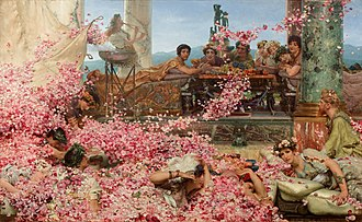 """Rosalia (festival) - The Roses of Heliogabalus  (1888) by Lawrence Alma-Tadema: """"suffocation by erotically charged flowers"""" became a topos of the late 19th century"""