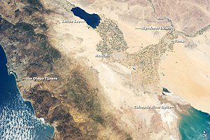 Colorado River Delta - Image: The Salton Trough region from orbit
