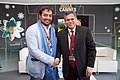 The Secretary, Ministry of Information & Broadcasting, Shri Uday Kumar Verma felicitated the Producer-Director Anurag Kashyap, at the India Pavilion at the 66th Annual Cannes Film Festival, in France on May 17, 2013.jpg