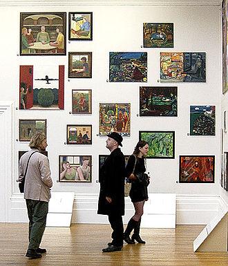 John Bourne (artist) - John Bourne's work (on the left) at The Stuckists Punk Victorian, 2004.