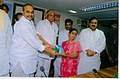 """The Union Minister of Consumer Affairs, Food and Public Distribution and Agriculture, Shri Sharad Pawar along with the Chief Minister of Andhra Pradesh, Dr. Y.S. Rajasekhara Reddy distributed """"Palmolein Oil"""".jpg"""