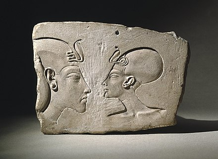 The Wilbour Plaque, c. 1352-1336 BCE, Brooklyn Museum This relief depicts Akhenaten and Nefertiti late in their reign. The Wilbour Plaque, ca. 1352-1336 B.C.E., 16.48.jpg