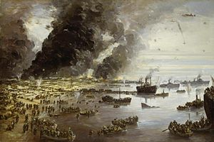 1940 in art - Image: The Withdrawal from Dunkirk, June 1940 Art.IWMARTLD305