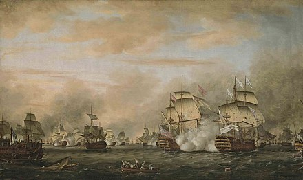 Battle of the Saintes, 12 April 1782 - Admiral George Rodney defeats the Comte De Grasse in the West Indies. Oil on canvas by Thomas Whitcombe The battle of the Saints 12 avril 1782.jpg