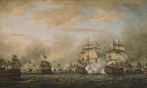 The Battle of the Saintes (1782). On the right, the French flagship, Ville de Paris, in action against HMS Barfleur. The battle of the Saints 12 avril 1782.jpg