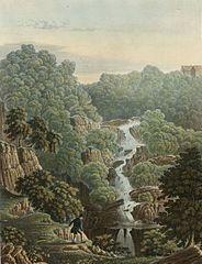 The fall of the River Mynach, Devils Bridge: Cardiganshire