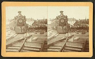 Pennsylvania Railroad Bridge (Columbia, Pennsylvania) - First train across the new bridge.