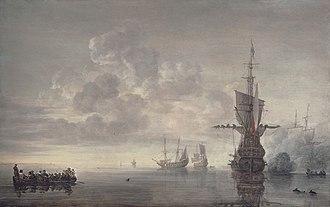 Dutch ship Aemilia (1632) - The flagship Aemilia fires a salute for Admiral Maarten Harpertszoon Tromp, by Simon de Vlieger
